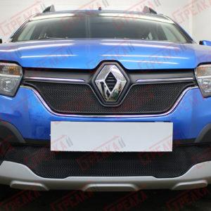 Защита радиатора Renault Logan, Sandero с 2018 г.в., black низ