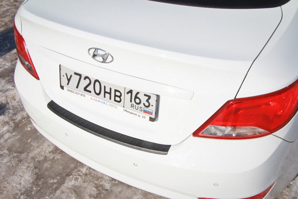 Накладка на задний бампер для Хендай Солярис c 2014 г.в.