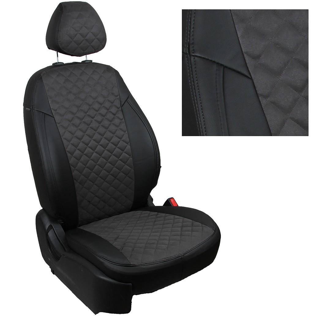 Аточехлы Автопилот экокожа (ромб), черный-серый для Renault Arkana