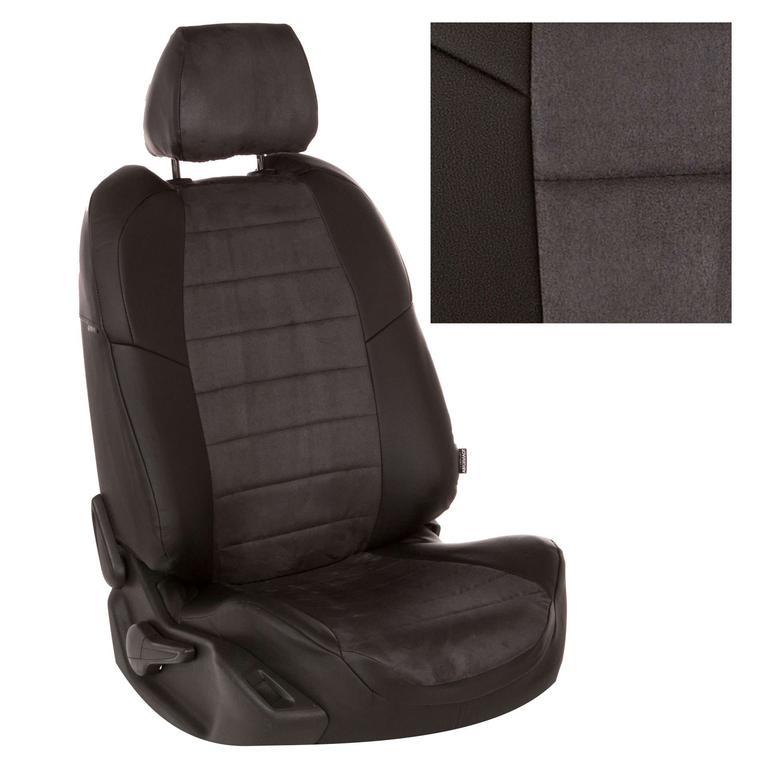 Авточехлы Автопилот экокожа с алькант., черный-серый, сплошная спинка для LADA Largus 5 мест