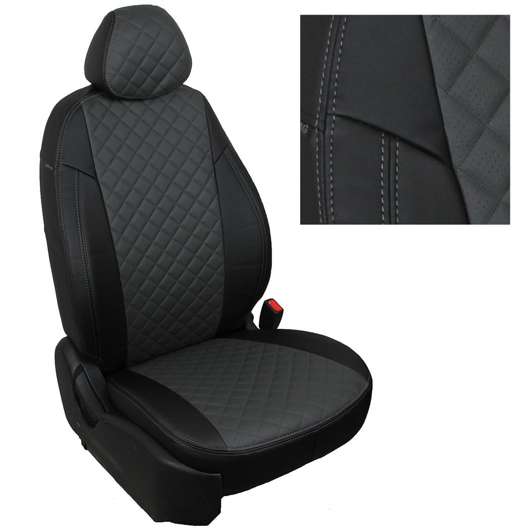 Авточехлы Автопилот экокожа (ромб), черный-серый для Renault Duster I, Nissan Terrano III