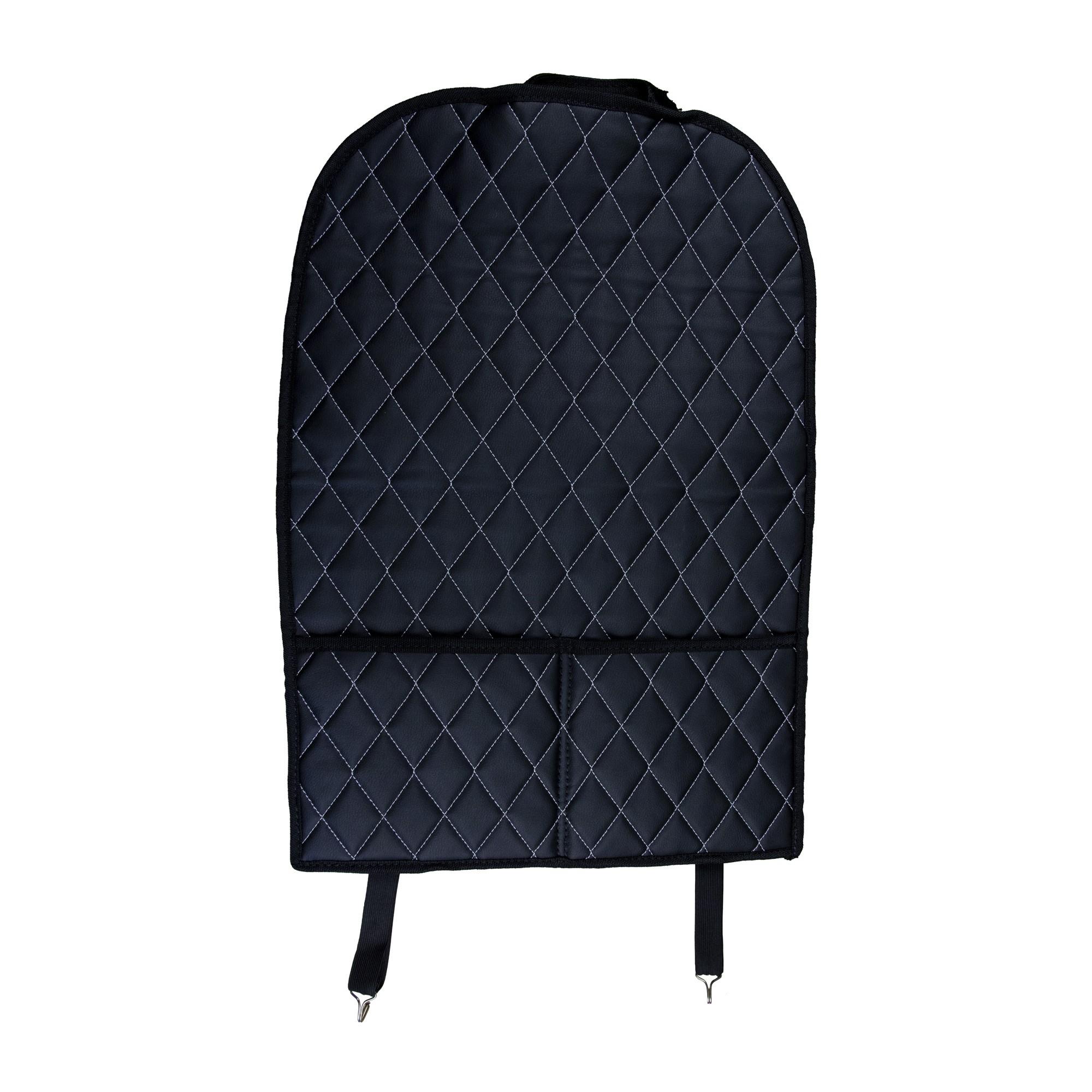 Защитная накидка на сиденье с карманами ArmAuto (экокожа-ромб, белая нить)